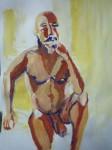 modèle vivant, art du nu, dessin, peinture, art contemporain, gouache, couleur, pinceaux, Paris, papier,  technique de peinture,