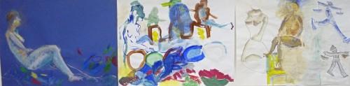 polyptyque, triptyque, diptyque, peinture, pastel, dessin, modèle vivant, cours de peinture, cours de modèle vivant,