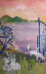 peinture animaux, peinture nature, peinture acrylique, collage,
