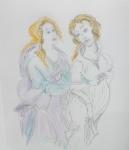 Nous avions rendez-vous devant  les fresques peintes par dessiner au Louvre, peinture italienne, Botticelli, Venus et les trois Graces, Les septs arts Botticelli.