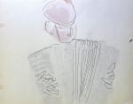 monotype,cours de modèle vivant,atelier de dessin,atelier de peinture, accordéoniste