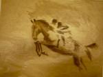 chat, chevaux, peinture animalière, dessin, fusain,