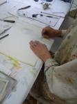 monotype,cours de modèle vivant,atelier de dessin,atelier de peinture,accordéoniste