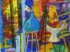 art contemporain, vies silencieuses, nature morte, peinture à l'huile, étude de couleur, fruits, fleurs, création,