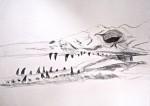 croquis, dessin, feutre, crayon, craie de couleur,