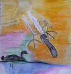 muséum, paléontologie, galerie d'anatomie comparée, croquis, dessin, crayon de couleur, craie Néocolor, dessin documentaire, dessin artistique