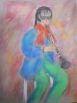 Liviu, saxophoniste, dessiner la musique,  modèle vivant,